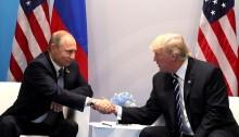 Putin and Trump Shaking Hands