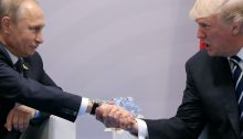 Trump and Putin Shaking Hands