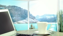 View with a Coffee Table View of Ocean