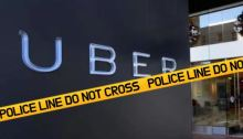 Police Tape Over Uber Sign