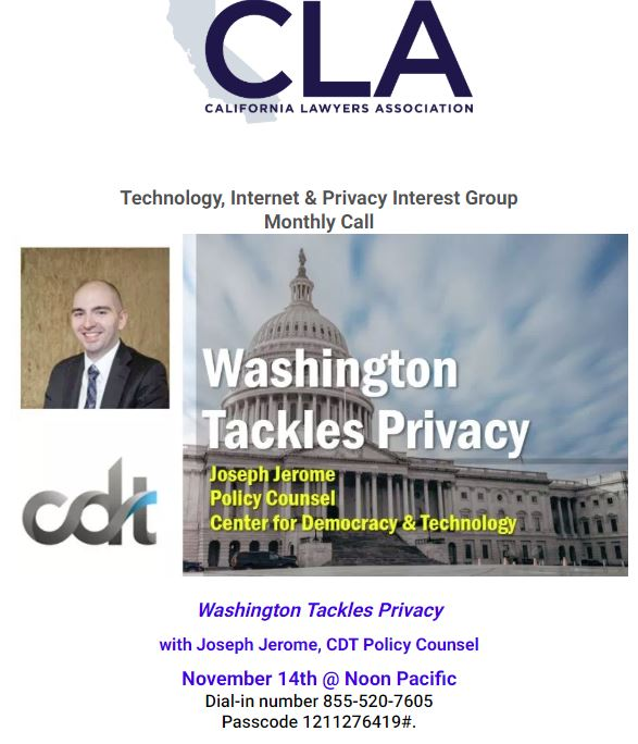 CLA/TIP Monthly Call –  Washington Tackles Privacy (Wed Nov. 14 at Noon PT)