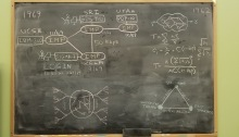 A blackboard in UCLA's Boelter Hall displaying facsimiles of some of the equations and schematics that led to the Arpanet in 1969.