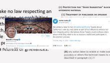 Mosaic of 1st Amendment, CDA230 and Trump and Twitter Tweets