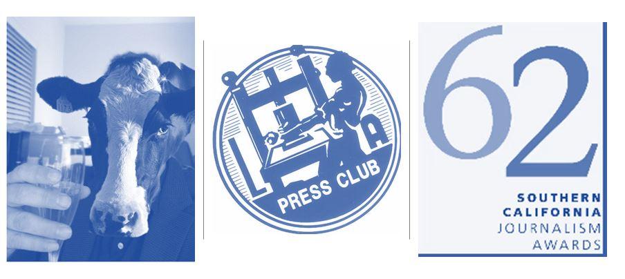 Cow toasting champagne, LA Press Club, 62 So. Cal Journalism Awards logo